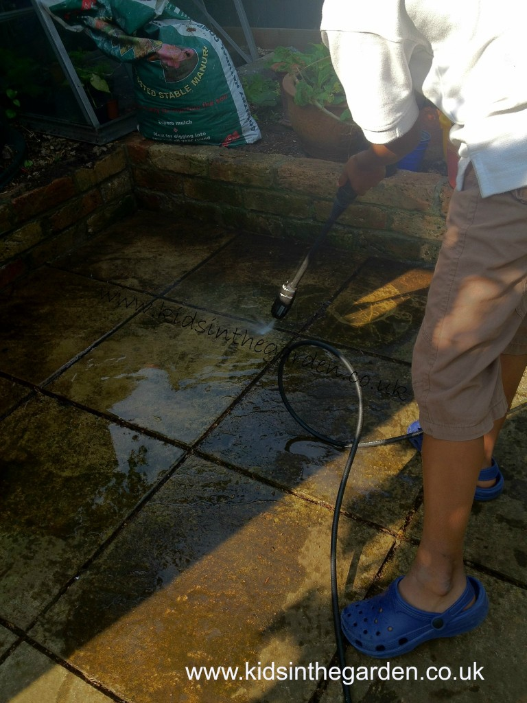 cleaning the paving