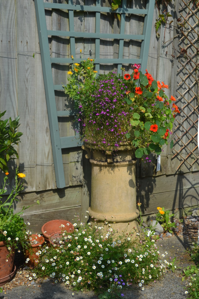 Chimney pot with flowers
