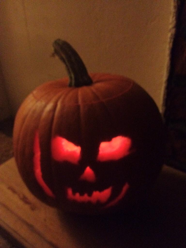 lit up pumpkin