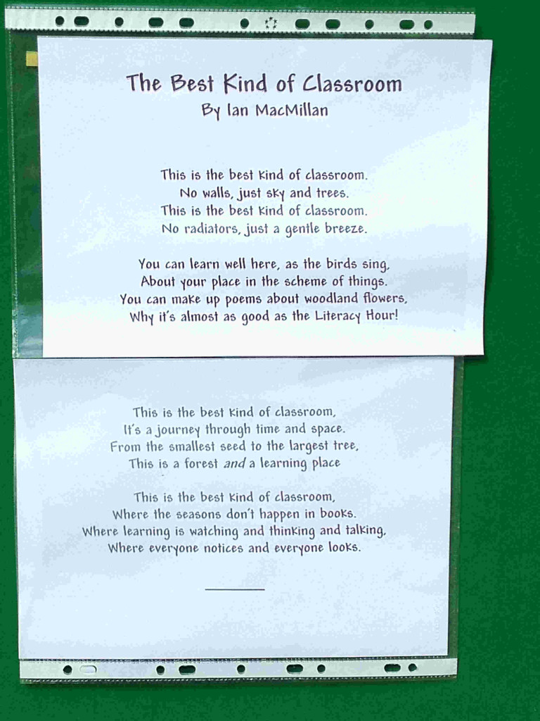Outdoor classroom poem